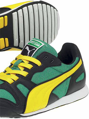 Massachusetts is considered a hub of footwear design. Brands with local presence include Reebok, New Balance, Puma, Clark, Stride Rite, and Saucony — as well as many smaller companies. The footwear industry employs many in-house designers, as well as independent product designers and footwear design consultants, who often also design for well-known fashion labels. Above: Puma Hawaii XT. Design: Puma; Westford, Massachusetts. Photo courtesy Puma.
