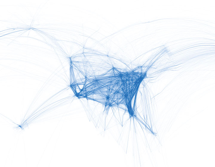 One of a series of visualizations depicting airline traffic across the United States.