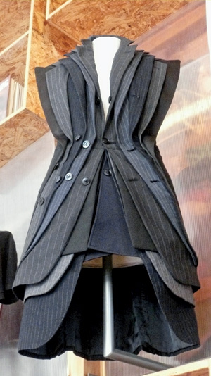 """Lapel dress"" by Junky Styling features recycled men's suit jackets. Photo by Cory Doctorow."
