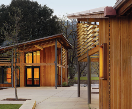 The Portola Valley (California) Town Center, by Siegel & Strain Architects with Goring & Straja Architects. Materials from previously deconstructed buildings on the site were reworked and integrated in the new buildings. Photo by César Rubio.