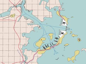Proposal for Boston Harbor Barrier, 1988. Antonio Di Mambro + Associates.