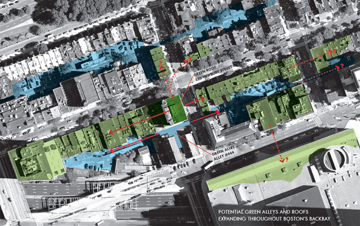 Potential Green Alleys and Roofs in Boston's Back Bay